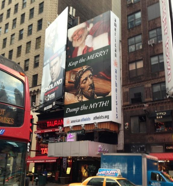 American Atheist Attack Ad in Times Square, NYC