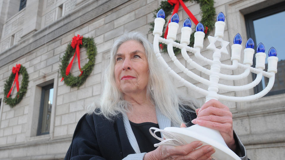 Menorahs Want Equal Time with Wreaths in Boston Library