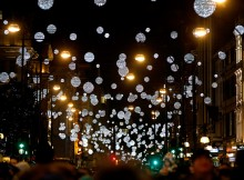 LONDON, ENGLAND - NOVEMBER 06:  General view of the atmopshere at The World Famous Oxford Street Christmas Lights Switch On Event taking place at John Lewis' Flagship Store on November 6, 2014 in London, England.  (Photo by Miles Willis/Getty Images for New West End Company)